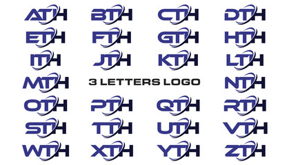 3 letters modern generic swoosh logo ATH, BTH, CTH, DTH, ETH, FTH, GTH, HTH, ITH, JTH, KTH, LTH, MTH, NTH, OTH, PTH, QTH, RTH, STH, TTH, UTH, VTH, WTH, XTH, YTH, ZTH