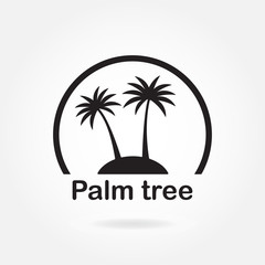 Palm tree icon or sign. Symbol of two black palm trees silhouette on the island. Vector illustration.
