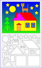 Educational page for young children.  Need to find the geometric figures in the picture and paint them in corresponding colors. Developing skills for counting. Vector cartoon image