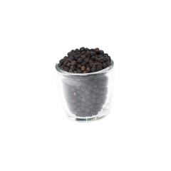 Black pepper in glass bowl isolated on white background