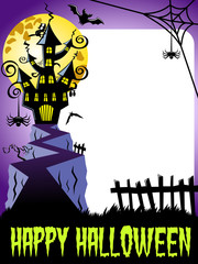 Happy halloween photo frame vertical haunted castle big full moon