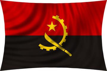Flag of Angola waving isolated on white
