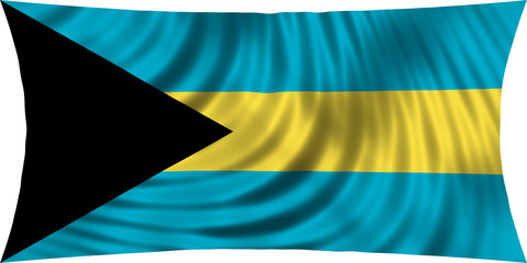 Flag of Bahamas waving isolated on white