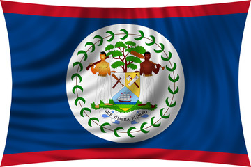 Flag of Belize waving isolated on white