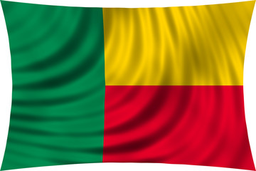 Flag of Benin waving isolated on white