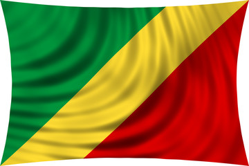 Flag of the Congo Republic wavy isolated on white