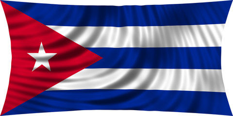 Flag of Cuba waving isolated on white