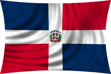 Dominican Republic flag waving isolated on white