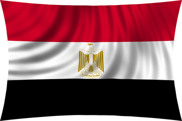 Flag of Egypt waving isolated on white