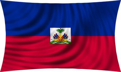Flag of Haiti waving isolated on white