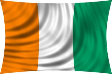 Flag of Ivory Coast waving isolated on white