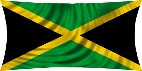 Flag of Jamaica waving isolated on white