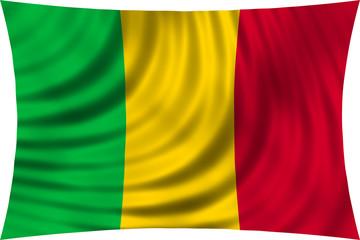 Flag of Mali waving isolated on white