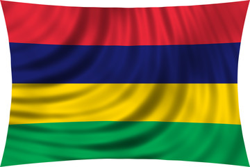 Flag of Mauritius waving isolated on white