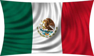 Flag of Mexico waving isolated on white