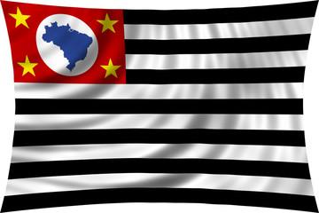 Sao Paulo, Brazil state, flag waving on white