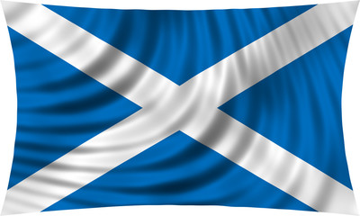 Flag of Scotland waving isolated on white
