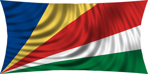 Flag of Seychelles waving isolated on white