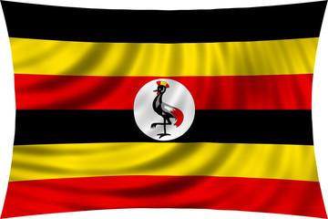 Flag of Uganda waving isolated on white