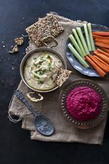 Hummus and beetroot hummus
