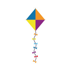 colorful kite with ribbons. vector illustration