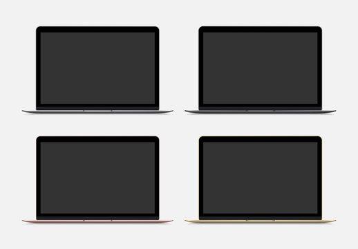 Maquetas vectoriales de portátil