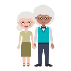 Old woman and man smiling cartoon icon over white background. Grandparents couple theme. Colorful design.  Vector illustration