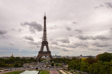 View Eiffel Tower in Paris. Cloudy day