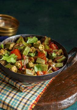 Okra Masala in an Iron wok
