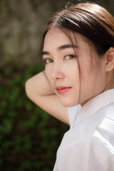 thai adult student university uniform beautiful girl relax and smile