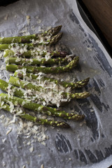 Green asparagus with grated Parmesan cheese