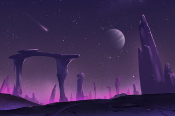 Fantastic and Exotic Allen Planet's Environment: A Peaceful Night. Video Game's Digital CG Artwork, Concept Illustration, Realistic Cartoon Style Background