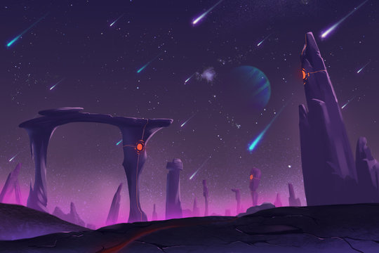 Fantastic and Exotic Allen Planet's Environment: Meteor Shower at Night. Video Game's Digital CG Artwork, Concept Illustration, Realistic Cartoon Style Background