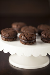 Chocolate Cream Cookies on White Enamel Cake Stand