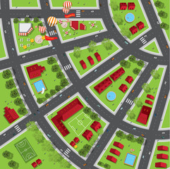 Top view of the city of streets, roads, houses, treetop, vector