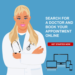 online doctor appointment, physician visit, vector illustration