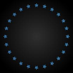 Frame Blue Sequin Stars Around Circle