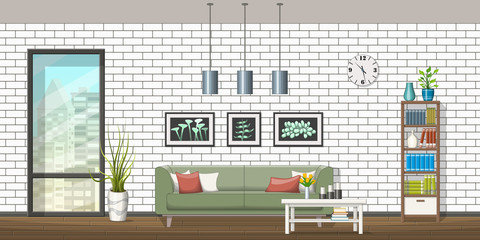 Illustration of interior equipment of a modern living room