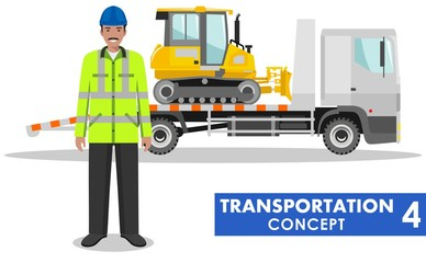 Transportation concept. Detailed illustration of auto transporter, dozer and driver on white background in flat style. Heavy construction machines. Vector illustration.