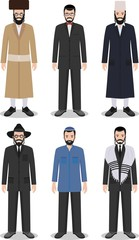 Set of different standing jewish men in the traditional clothing isolated on white background in flat style. Differences Israelis in the national dress. Vector illustration.