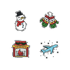 Christmas Icons set, vector outline and colour color illustrations