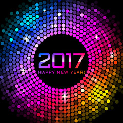 Vector - Happy New Year 2017 - colorful disco lights background