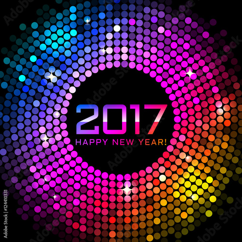 vector happy new year 2017 colorful disco lights background