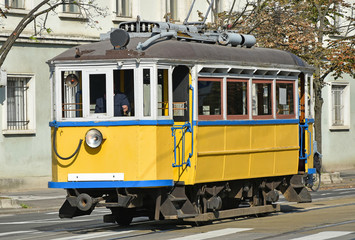 Old tram in the city