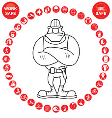 Red circular Health and Safety Icon collection