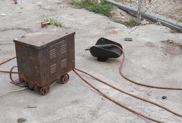 Old rust Welding equipment, welding mask