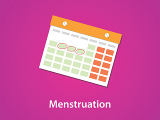 women menstruation calendar with red or pink background and text
