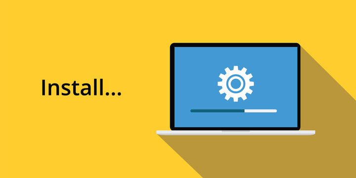 install concept with laptop notebook gear icon and long shadow yellow background