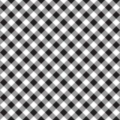 Black white checkerboard check diagonal fabric texture seamless