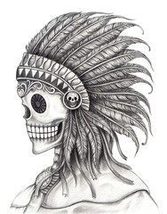 Skull Indian day of the dead.Art design skull Indian action smiley face day of the dead festival hand pencil drawing on paper.